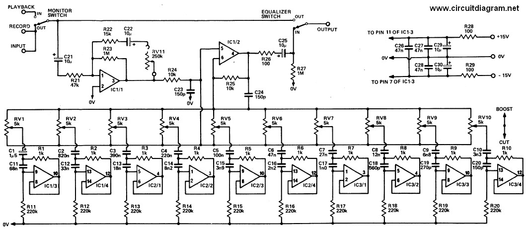 20 Band Graphic Equalizer - Circuit Schematic