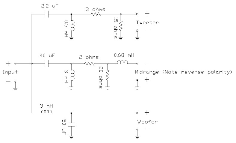loudspeaker system crossover network circuit schematic. Black Bedroom Furniture Sets. Home Design Ideas