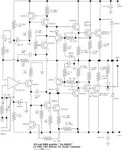 100W RMS audio amplifier circuit design