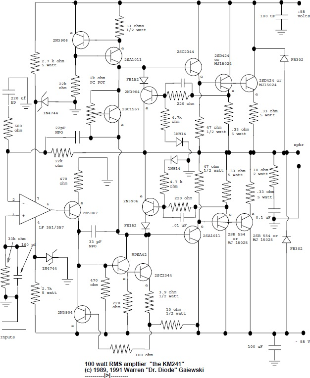 100w Rms Amplifier Circuit Diagram - Wiring Diagram Review
