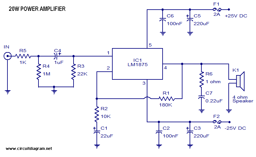 25w Hifi Audio Amplifier Lm1875 Circuitschematic - Board