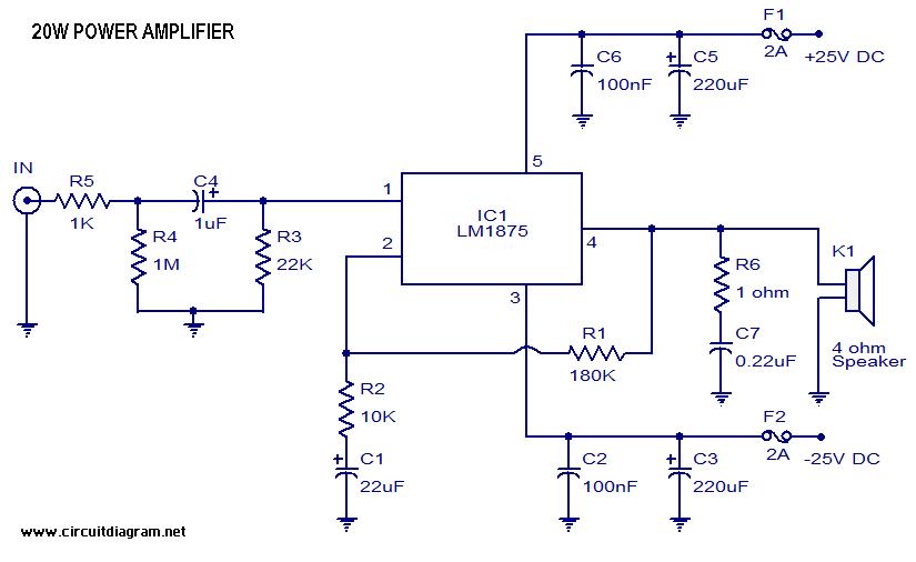 20 Watt Audio Amplifier With Lm1875