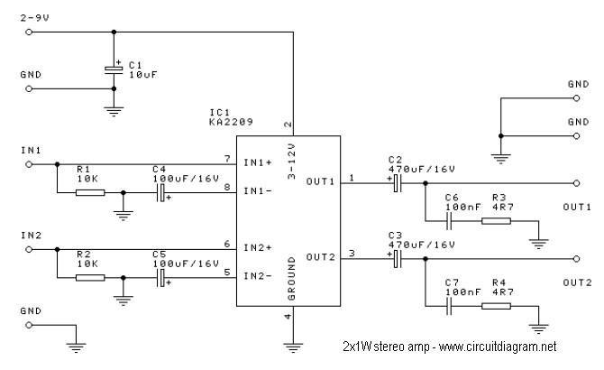 2x1w stereo amplifier with ic ka2209 circuit schematic rh circuitscheme com