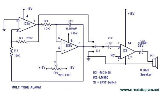 circuit diagram of 741 op amp diy simple multitone alarm - circuit schematic