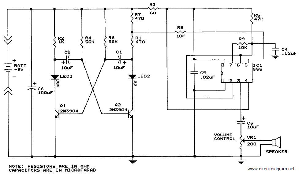Sound Generator with IC 555     Circuit    Schematic
