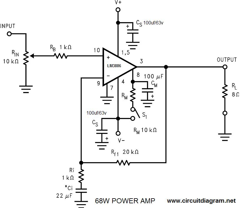 68w Power Amplifier With Lm3886 Circuit Schematic