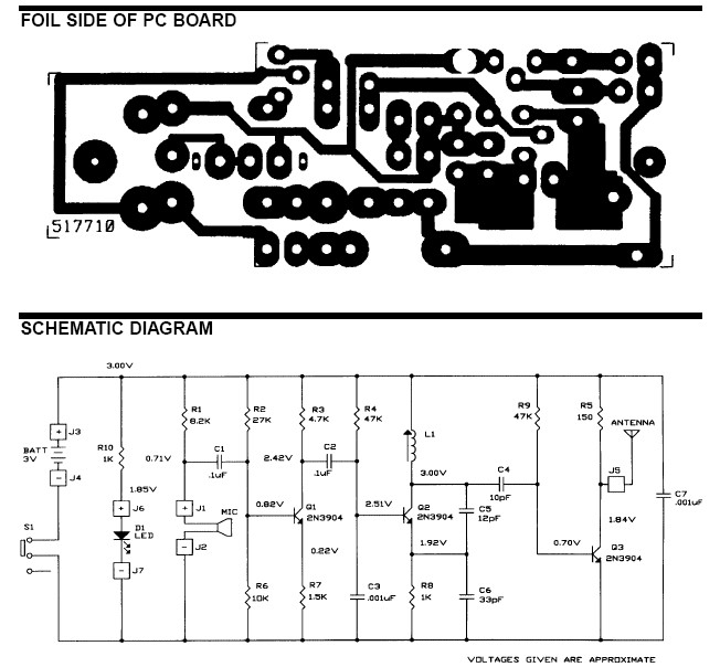 FM Wireless Microphone Circuit Schematic