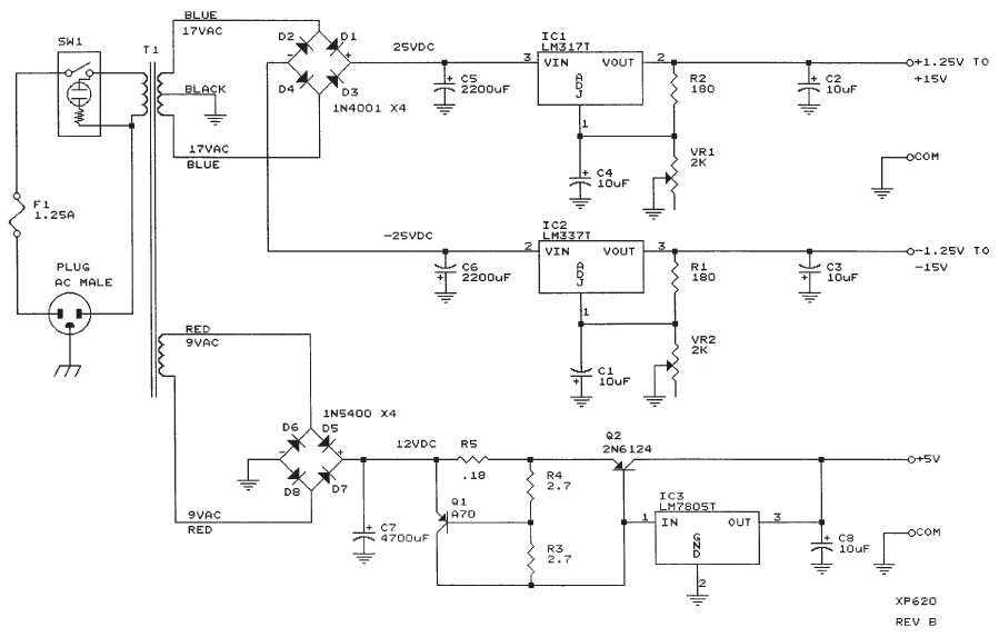 Bench Power Supply XP-620 Circuit Electronic - Circuit Schematic