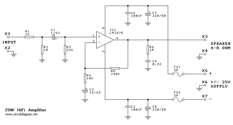 25w hi fi audio amplifier based lm1875 circuit schematic