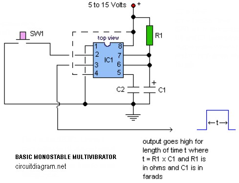 basic monostable multivibrator based ic timer 555 circuit schematicTimer As Monostable Multivibrator Electronic Circuits And Diagram #15