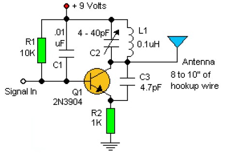 Basic Rf Oscillator on solar power schematic