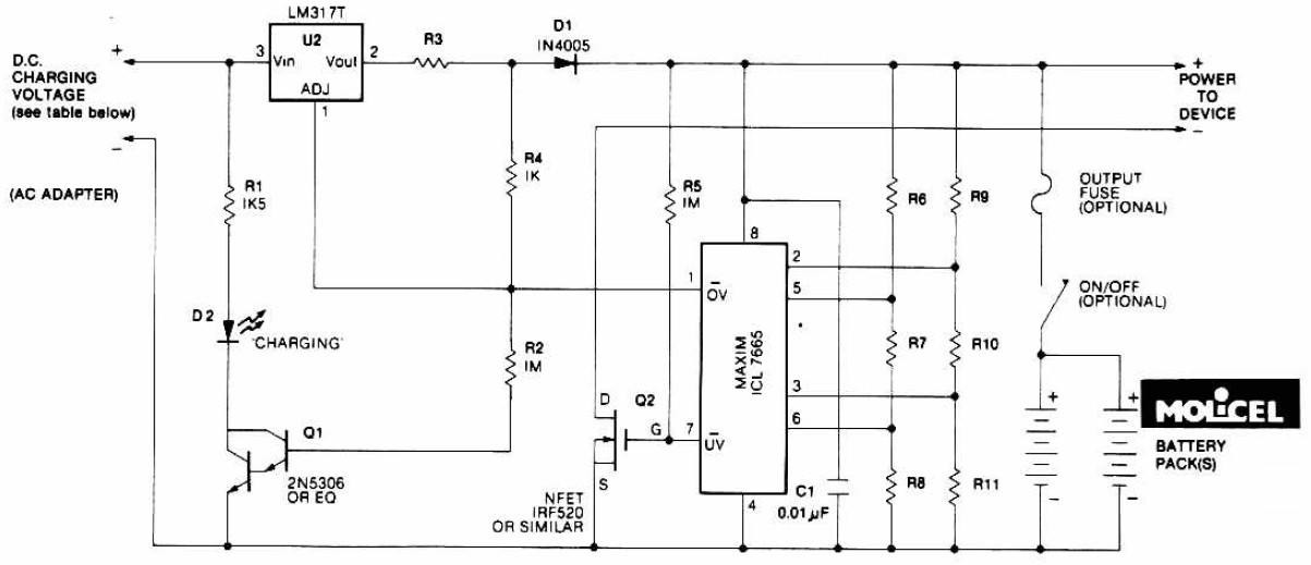 Lithium Battery Charger Circuit Schematic
