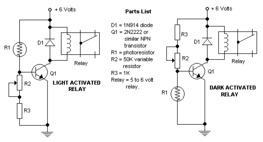 Dark and Light Activated Relay - Circuit Schematic