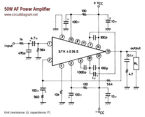 50w Af Power Amplifier With Stk4036ii Circuit Schematic