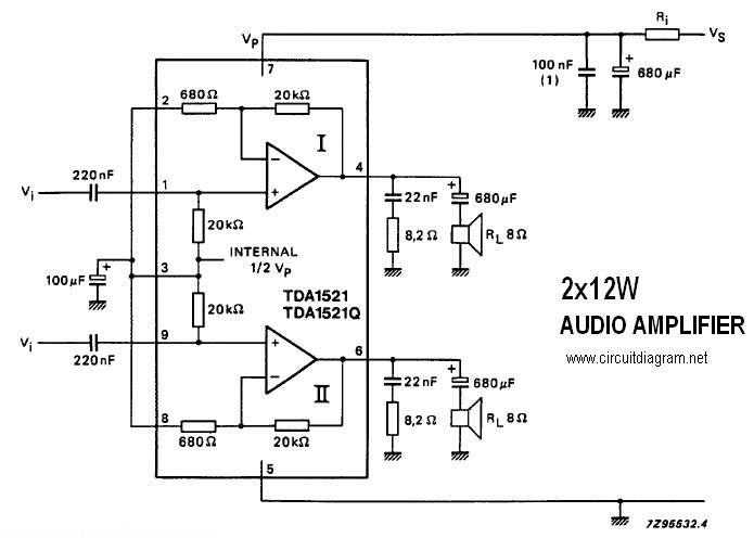 2 X 12w Stereo Amplifier With Tda1521 Tda1521q Circuit