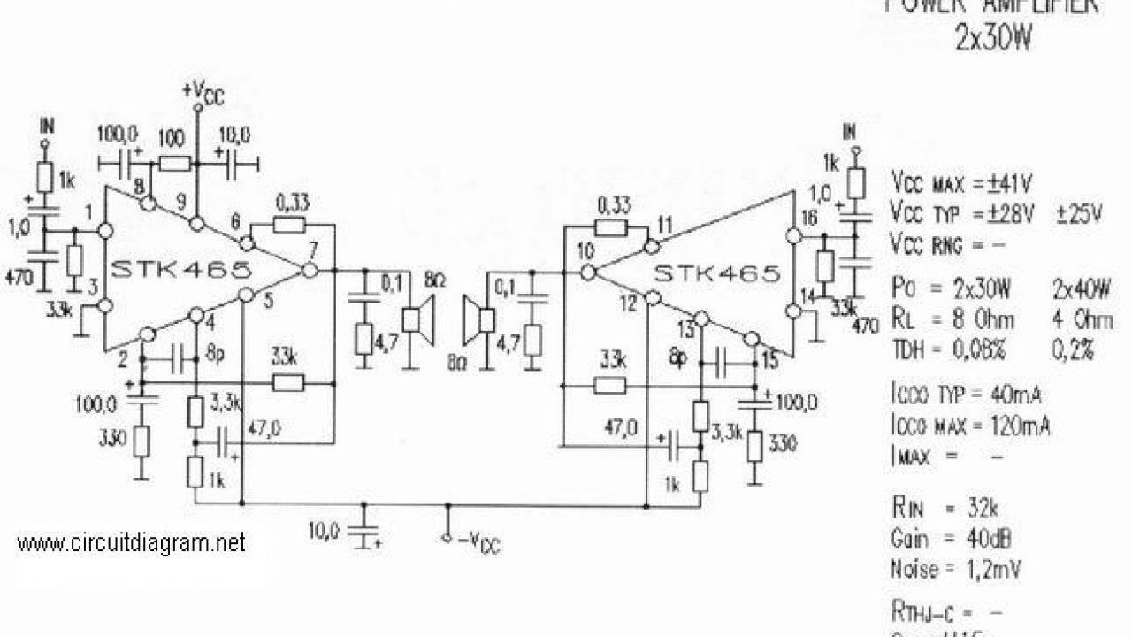 2 x 30w audio amplifier with stk 465 circuit scheme stk ic watts list amplifier 2x30w with stk465 circuit