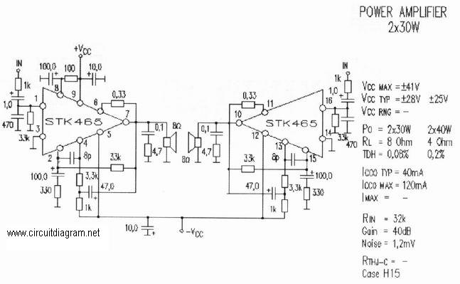 2 X 30w Audio Amplifier With Stk 465 Circuit Schematic