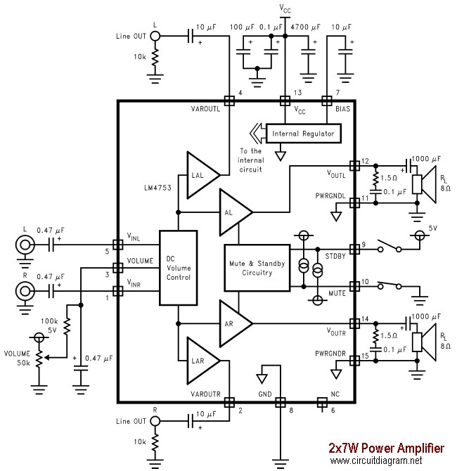 2x7w Audio Amplifier With Lm4756 Circuit Schematic