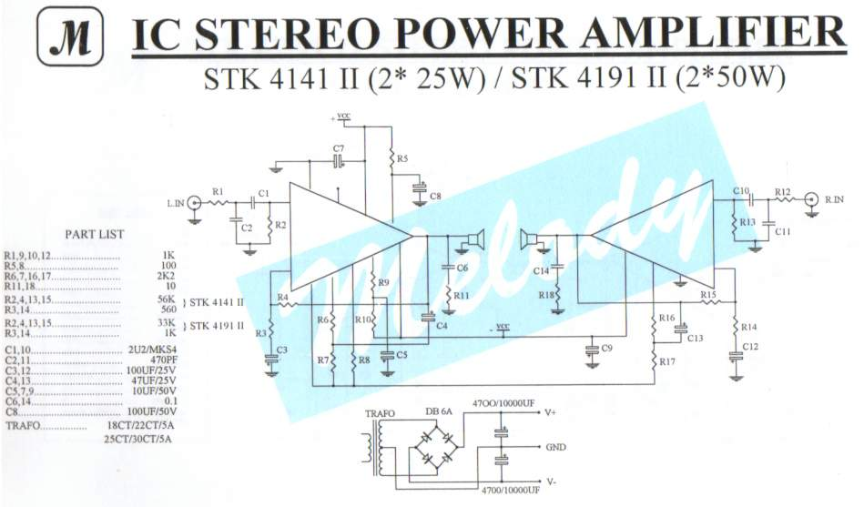 2x25w stereo power amplifier with stk4141ii circuit schematicStk4141 Power Supply #1