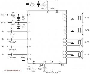 4 x 30W Power Amplifier Circuit Diagram