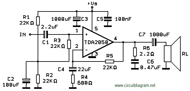32w hi fi audio amplifier with tda2050 circuit schematic rh circuitscheme com  tda2050 audio amplifier circuit diagram