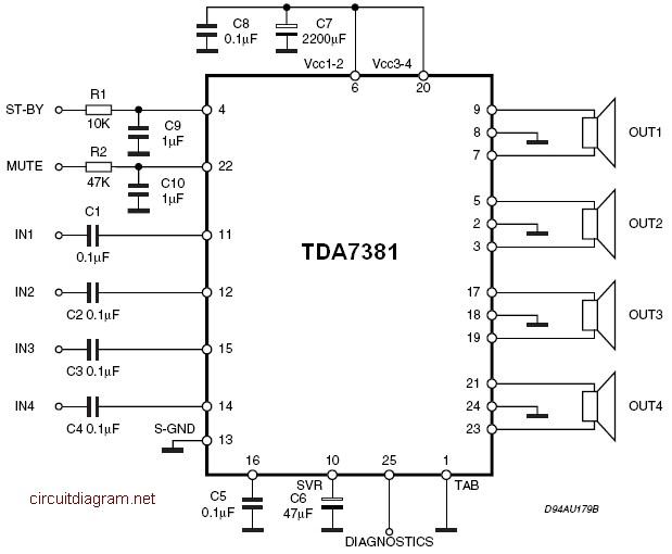 tda7381 4 x 25w quad audio amplifier circuit schematic car amplifier wiring diagram 98 slk230