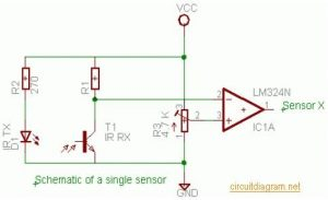 ATmega16 Line Follower Robot - IR robot sensor circuit