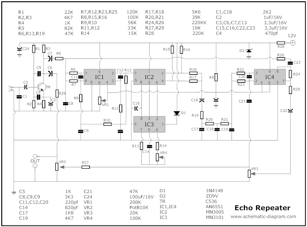 Terrific Echo Repeater Circuit Basic Electronics Wiring Diagram Wiring Cloud Mangdienstapotheekhoekschewaardnl
