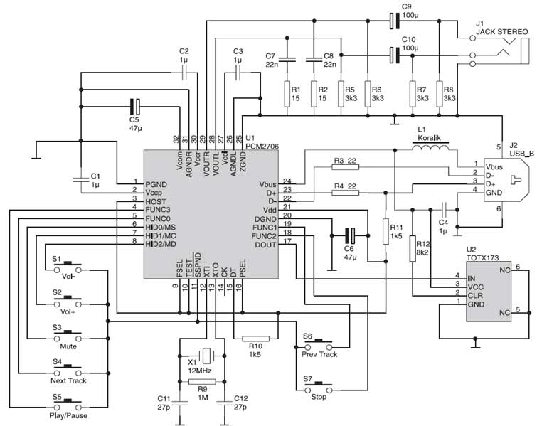 Pcm2706 Usb Sound Card Circuit Schematic