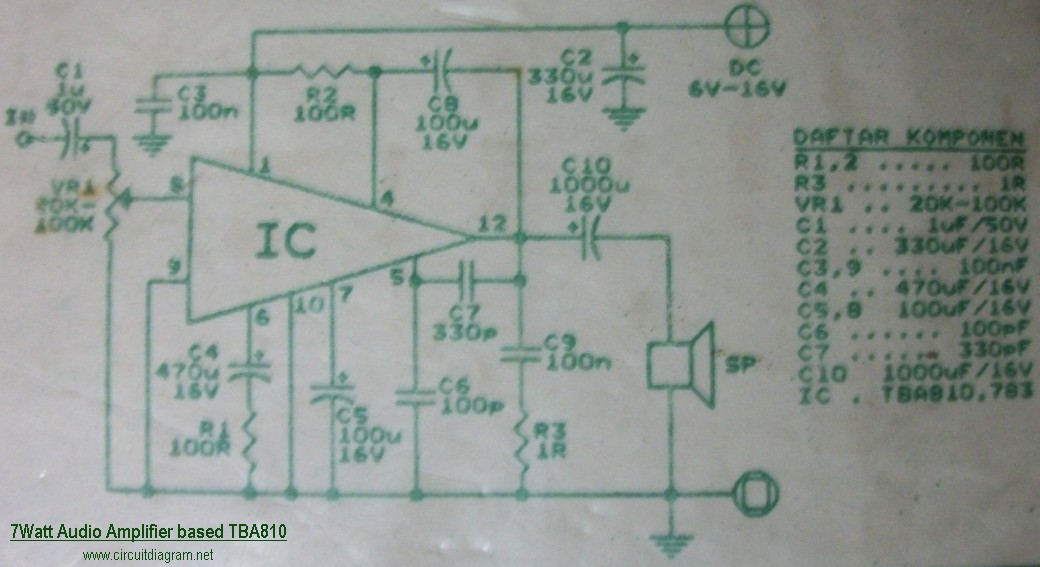 7w Audio Amplifier Based Tba810 Circuit Schematic