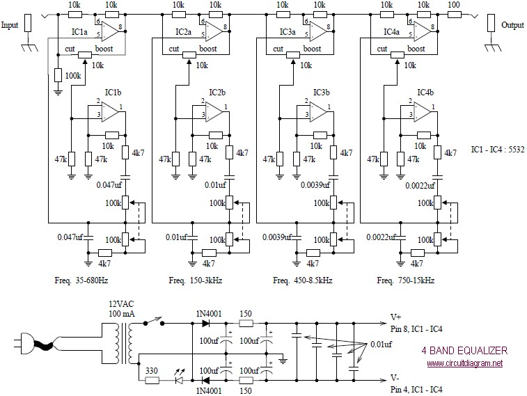 4 Band Equalizer Circuit Schematic
