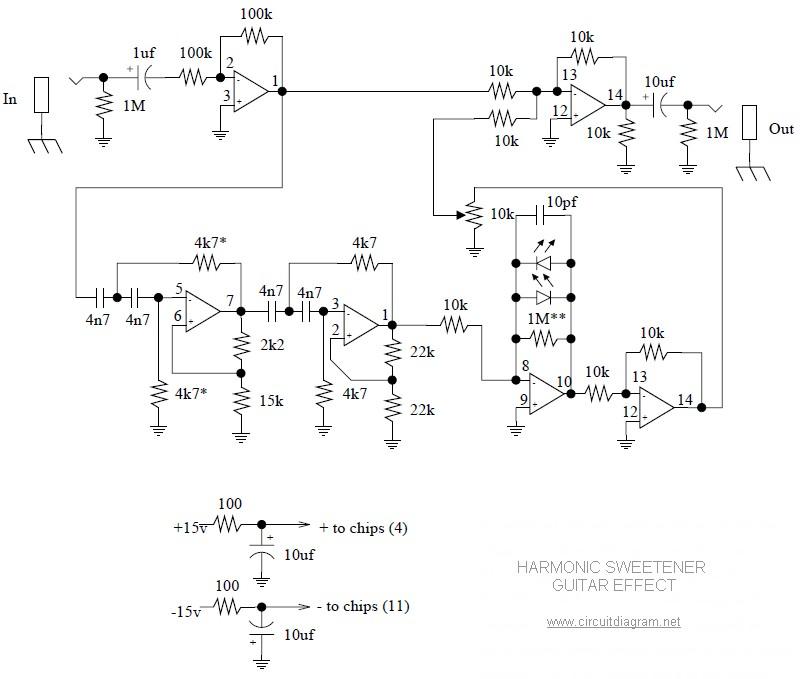 harmonic sweetener guitar effect circuit schematic. Black Bedroom Furniture Sets. Home Design Ideas