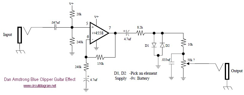 dan amstrong blue clipper fuzz guitar effect circuit schematic rh circuitscheme com