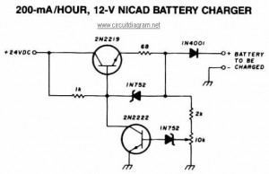 200mA per Hour - 12V NiCAD Battery Charger circuit