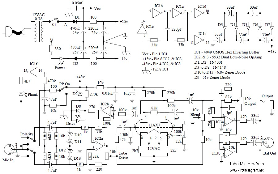 Tube-Mic-Pre-Amp-circuit-diagram Hard Battery Charger Wiring Schematic on