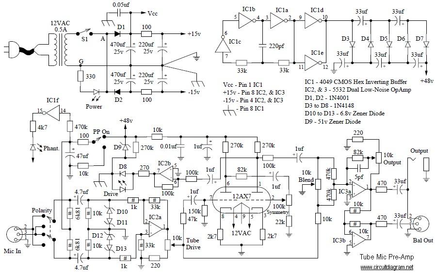 Tube Mic Pre Amp Circuit Schematic