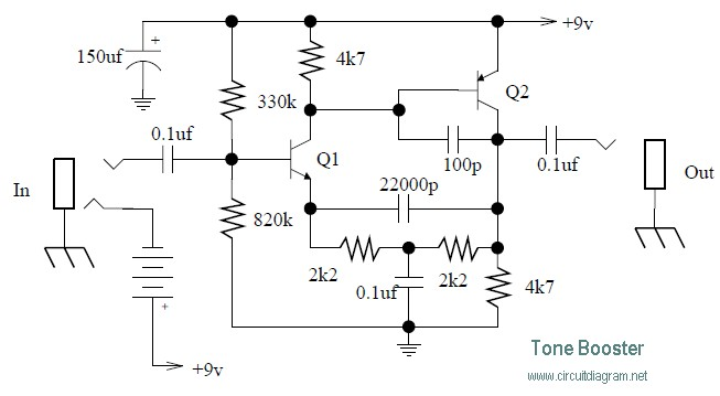 tone booster circuit schematic rh circuitscheme com Car TV Antenna Booster Circuit DC to AC Converter Circuit