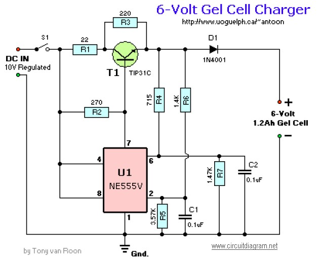 6v Gel Cell Battery Charger Circuit Schematic