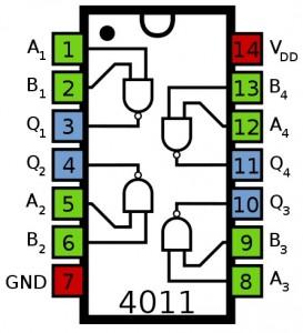 CMOS IC 4011 NAND gate dual input