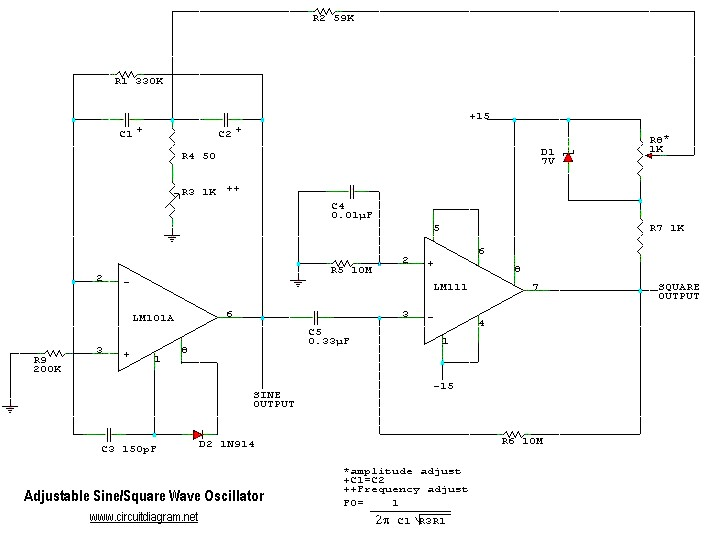 adjustable sine  square wave oscillator