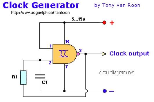 Nand Gate Clock Generator Circuit Schematic