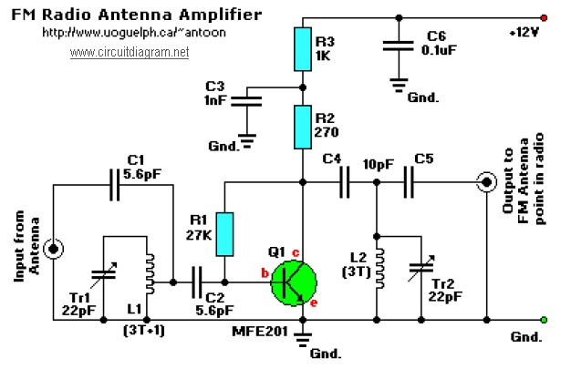 Fm Receiver Antenna Amplifier Circuit Schematic
