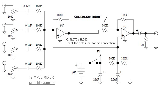 simple mixer 4 input circuit schematic rh circuitscheme com  simple echo mixer circuit diagram