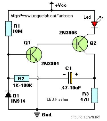 Led Flasher 2 Transistors Circuit Scheme