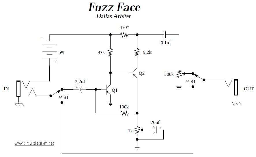 Dallas Arbiter Fuzz Face - Circuit Schematic on wah schematic, distortion schematic, mutron iii schematic, ts9 schematic, compressor schematic, univibe schematic, simple tube amp schematic, solar charge controller schematic, super fuzz schematic, simple fuzz box schematic, 3 pole double throw switch schematic, harmonic percolator schematic, muff fuzz schematic, tremolo schematic, overdrive schematic, marshall schematic, colorsound overdriver schematic, tube screamer schematic, fuzz pedal schematic, tube driver schematic,