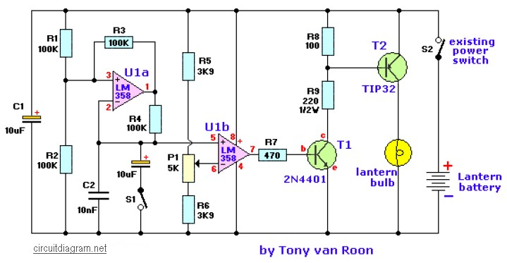 lantern dimmer and flasher circuit scheme