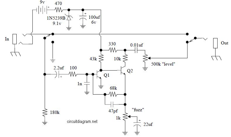 Jimi Hendrix Fuzz Face Pedal JH-2 - Circuit Schematic on wah schematic, distortion schematic, mutron iii schematic, ts9 schematic, compressor schematic, univibe schematic, simple tube amp schematic, solar charge controller schematic, super fuzz schematic, simple fuzz box schematic, 3 pole double throw switch schematic, harmonic percolator schematic, muff fuzz schematic, tremolo schematic, overdrive schematic, marshall schematic, colorsound overdriver schematic, tube screamer schematic, fuzz pedal schematic, tube driver schematic,