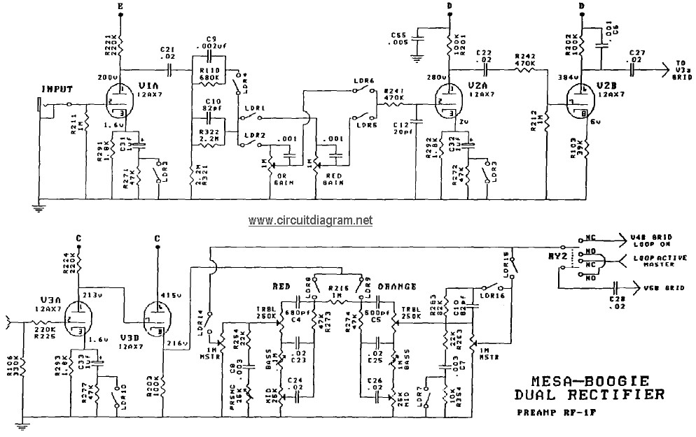 mesa boogie dual rectifier schematic diagram