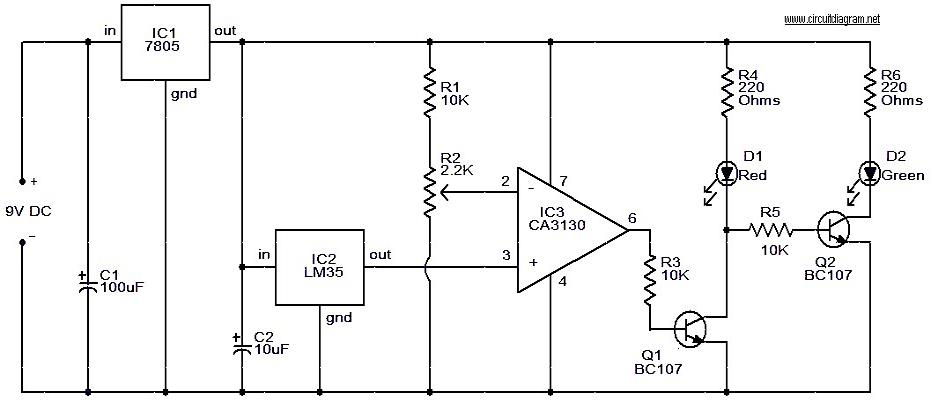 leds temperature indicator circuit rh circuitscheme com LED Voltage Indicator Light Simple LED Circuit Diagram