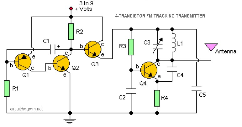 4-transistored-FM-tracking-transmitter Transistor Inverter Circuit Schematic on transistor gate, transistor circuit design, transistor latch circuit schematic, transistor circuit diagram, 12v to usb schematic, transistor voltage amplifier circuit, usb charge port schematic,